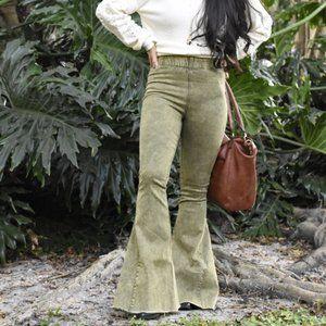 Olive High Waist Flare Pants